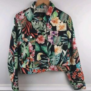 Zara trf Collection Denim Style Jacket Tropical L